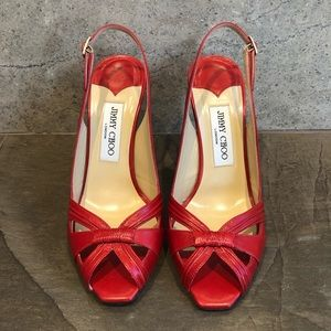 Jimmy Choo Red Sandal Heels, Size 7.5